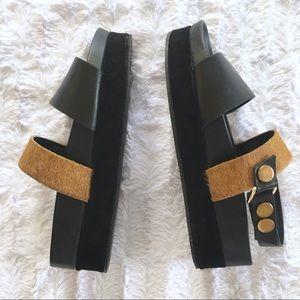 [Free People] Leather Platform Sandal